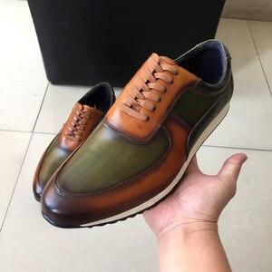 Image 2 - גדול גודל 15 Mens סגנון נעליים יומיומיות אמיתי עור יד צבוע אוקספורד חום ירוק שרוכים אופנה רחוב תמונות גברים של דירות