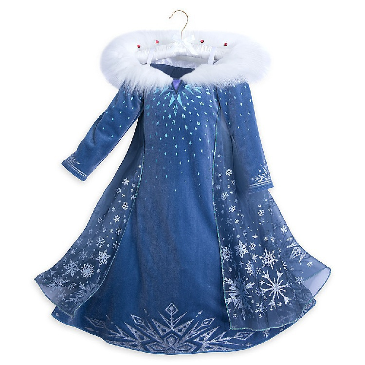 Models Long Sleeves Fur Children's Clothing Frozen Dress Elsa Queen Elsa COS Children's Dress 2020 Winter