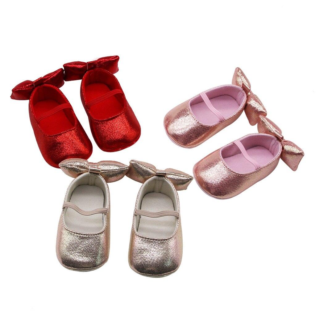 Newborn Baby Girls Pure Color Applique Sequins Prewalker Soft Sole Single Shoes  Children's Suit High Quality