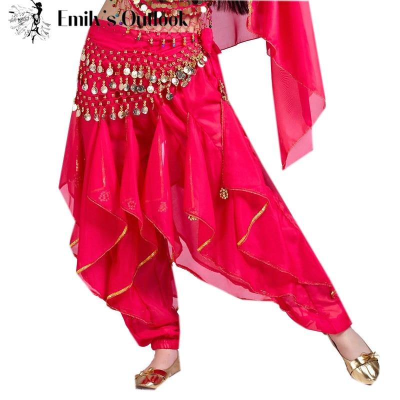Belly Dance Pants Harem Cosplay Halloween Arab Oriental Dance Performance Coins
