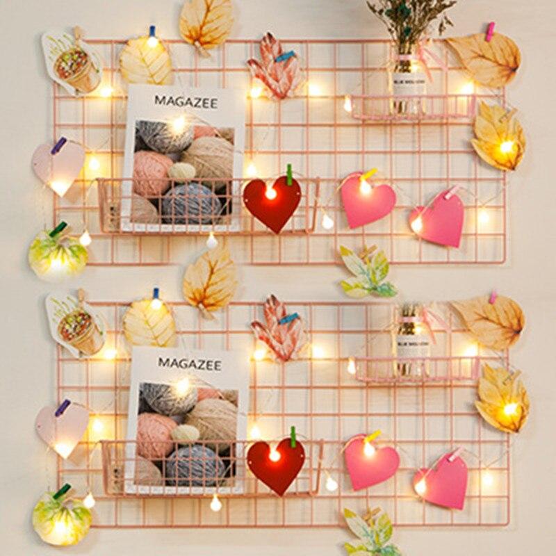 Ins rejilla de hierro decoración de la pared del hogar marco de fotos arte de la pared estante de almacenamiento organizador DIY Rack titular chica dormitorio Decoración