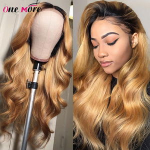 Ombre Body Wave Wigs 13x4 Lace Front Human Hair Wig Pre Plucked With Baby Hair Brazilian Remy Human Hair Wig 4/27 Honey Blonde