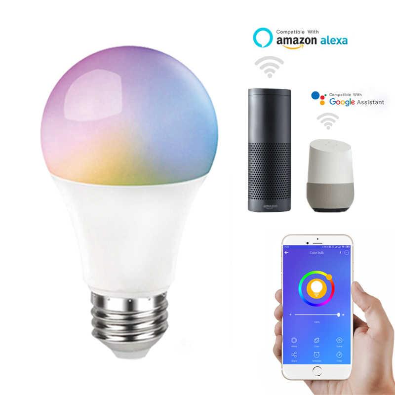 10 Вт E27 Smart Wifi Светодиодный лампа умный дом 806LM E27 RGB + CCT 220-240V смарт-лампы в виде домашней автоматизации Совместимость с Alexa Google home