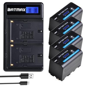 Batería de NP-F750 Batmax NP-F770 con indicador de potencia LED + nuevo cargador Dual USB LCD para Sony NP F970 F960 F550 F570 QM91D CCD-RV100