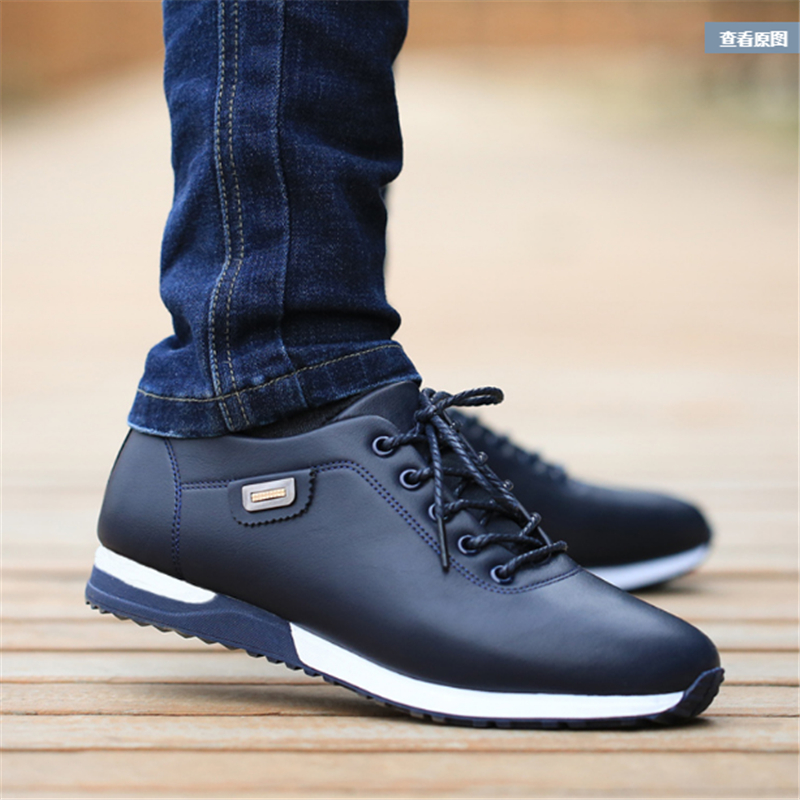 New Style Men Ourdoor Running Shoes Jogging Trekking Sneakers Lace Up PU Leather Athletic Shoes Comfortable Light Soft