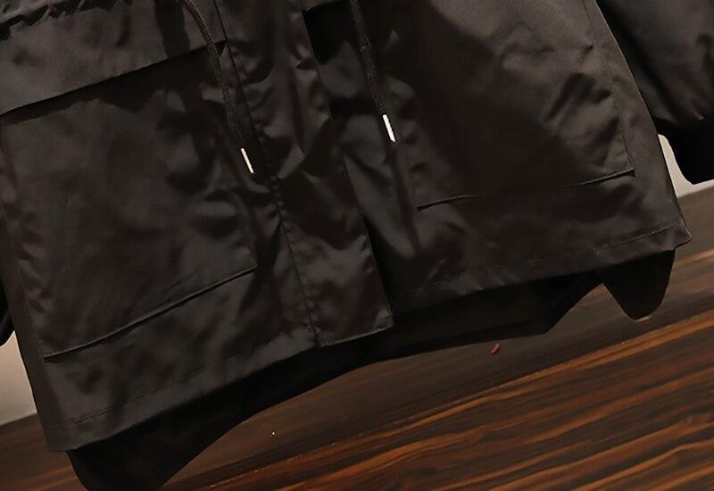 CHICEVER Patchwork Denim Women's Windbreaker Lapel Lantern Sleeve Hit Color Drawstring Plus Size Coat Female 19 Autumn Fashion 13