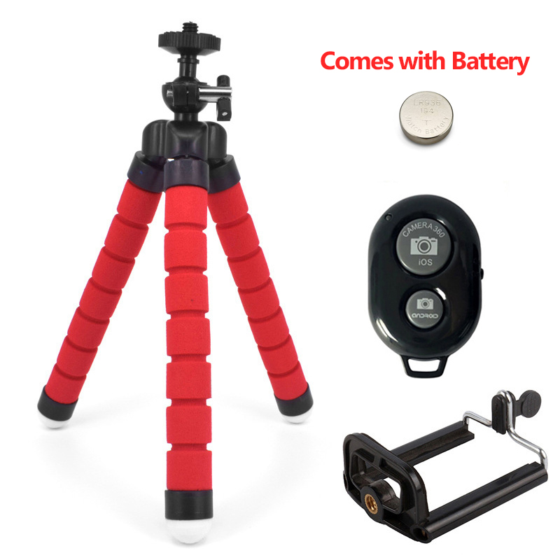 Штатив-держатель для телефона, универсальная подставка для телефона, гибкий губчатый мини-штатив с Bluetooth дистанционным затвором для камеры iPhone - Цвет: Red with 2