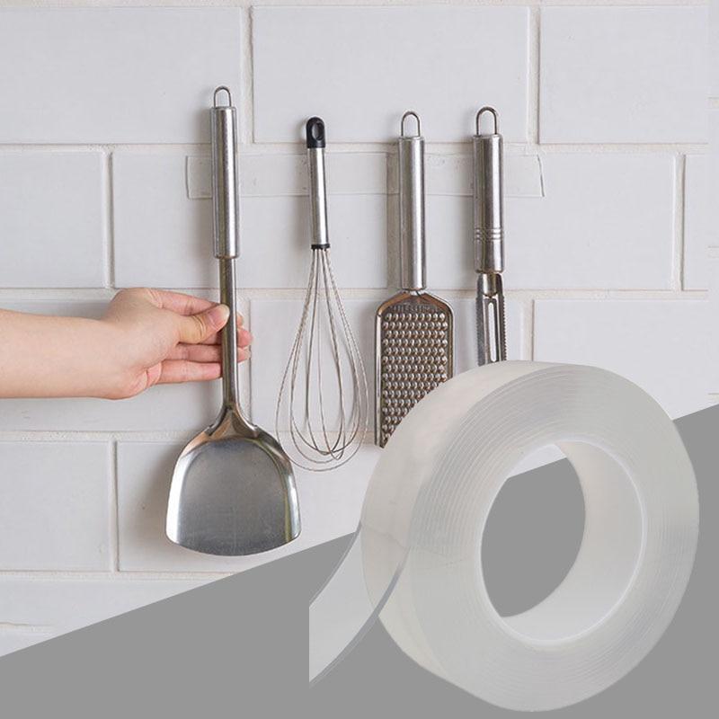Nano Magic Tape Kitchen Organizer Knife Holder Spice Bottle Holder Multifunction Wall Storage Holders Kitchen Wall Mounted Rack