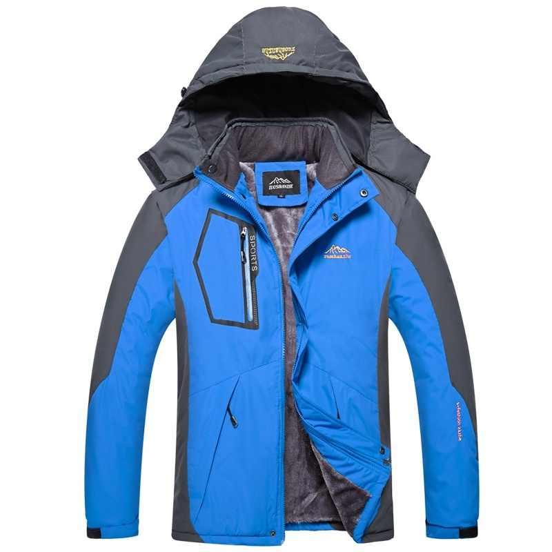LBL 男性のジャケットの冬防水メンズハイキングジャケット生き抜く暖かいコートマン厚いフード付きジャケット男フリース内部のオーバーコートポケット