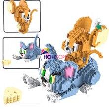 1524pcs 9013 Classic Cartoon Anime Diamond Building Blocks Cat Mouse Tom Model Jerry Mini Micro Bricks Toys for Gift