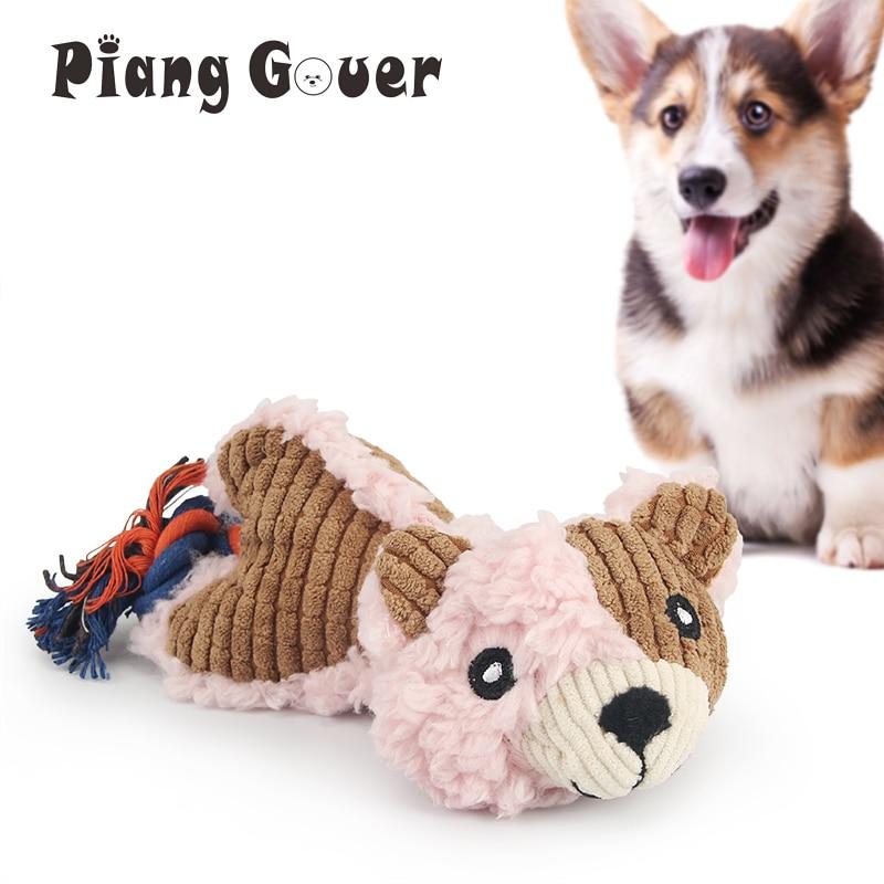 Pembe sevimli ayı yavru Pet oyuncak halat Squeak çiğnemek köpek oyuncaklar Bite ses köpek oyuncak