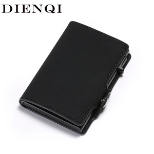 DIENQI New Antitheft Card Holder Leather Men Women Anti-magnetic Bank Credit Card Holder Minimalist Wallet Busienss Case Pocket(China)