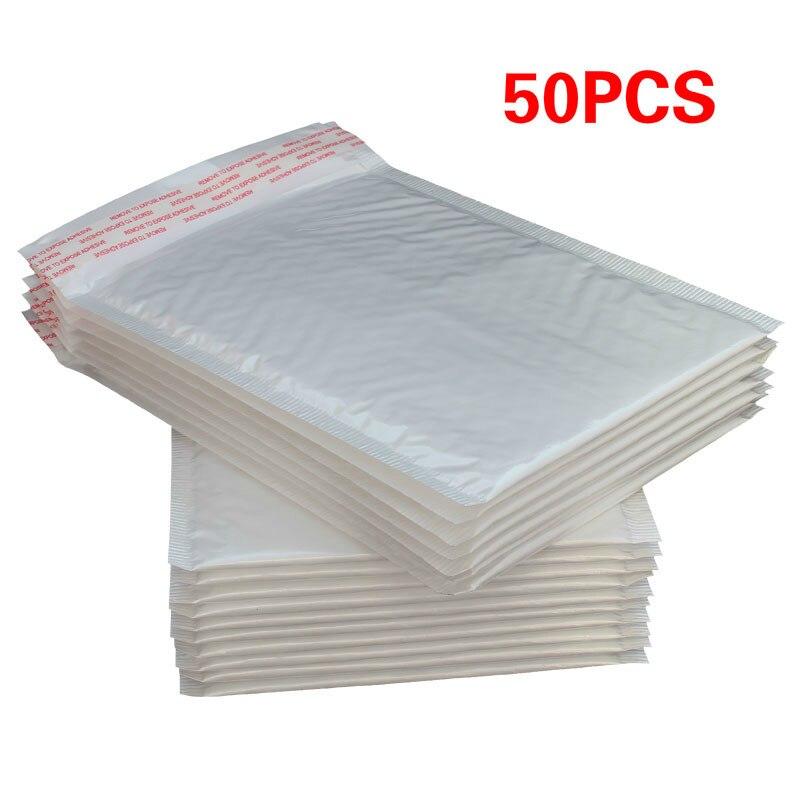 50 pçs plástico branco espuma envelope saco mailers acolchoado envio envelope com bolha saco de correio presente envoltório embalagem sacos de armazenamento