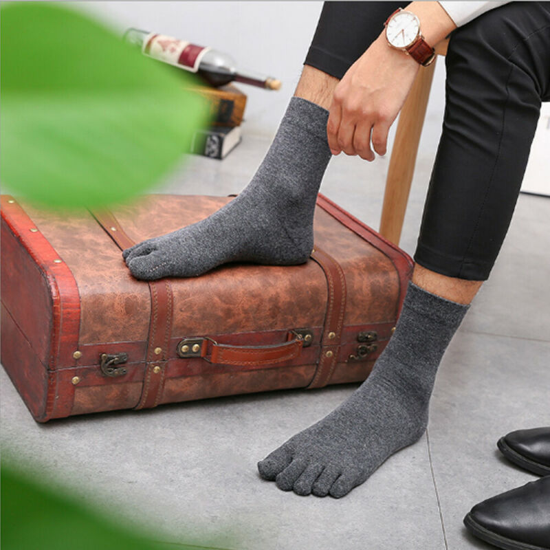 New Design Men Bamboo Fiber Stockings Casual Business Toe Boot Cotton Work Socks