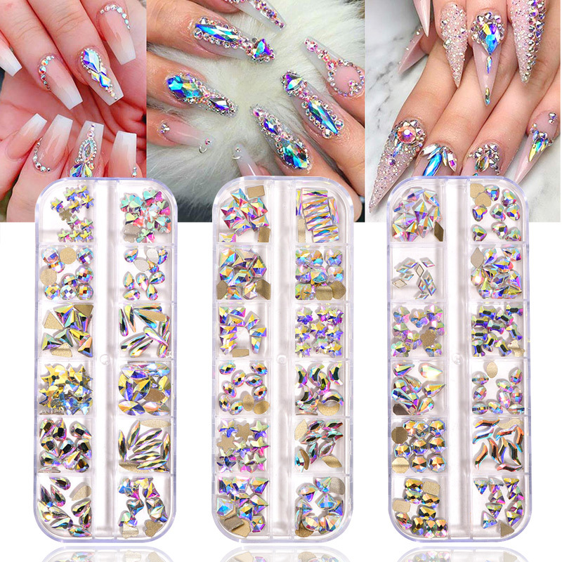 120 pçs por caixa de cristal ab 3d prego arte strass fantasia em forma cristais e pedras para diy unhas arte decoração