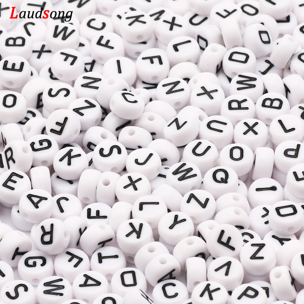 7mm Black White Mixed Letter Acrylic Beads Round Flat Alphabet Spacer Beads For Jewelry Making Handmade Diy Bracelet Necklace