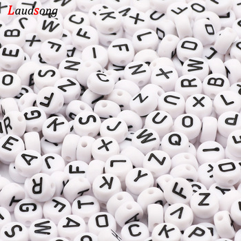 7mm Black White Mixed Letter Acrylic Beads Round Flat Alphabet Spacer Beads For Jewelry Making Handmade Diy Bracelet Necklace 1