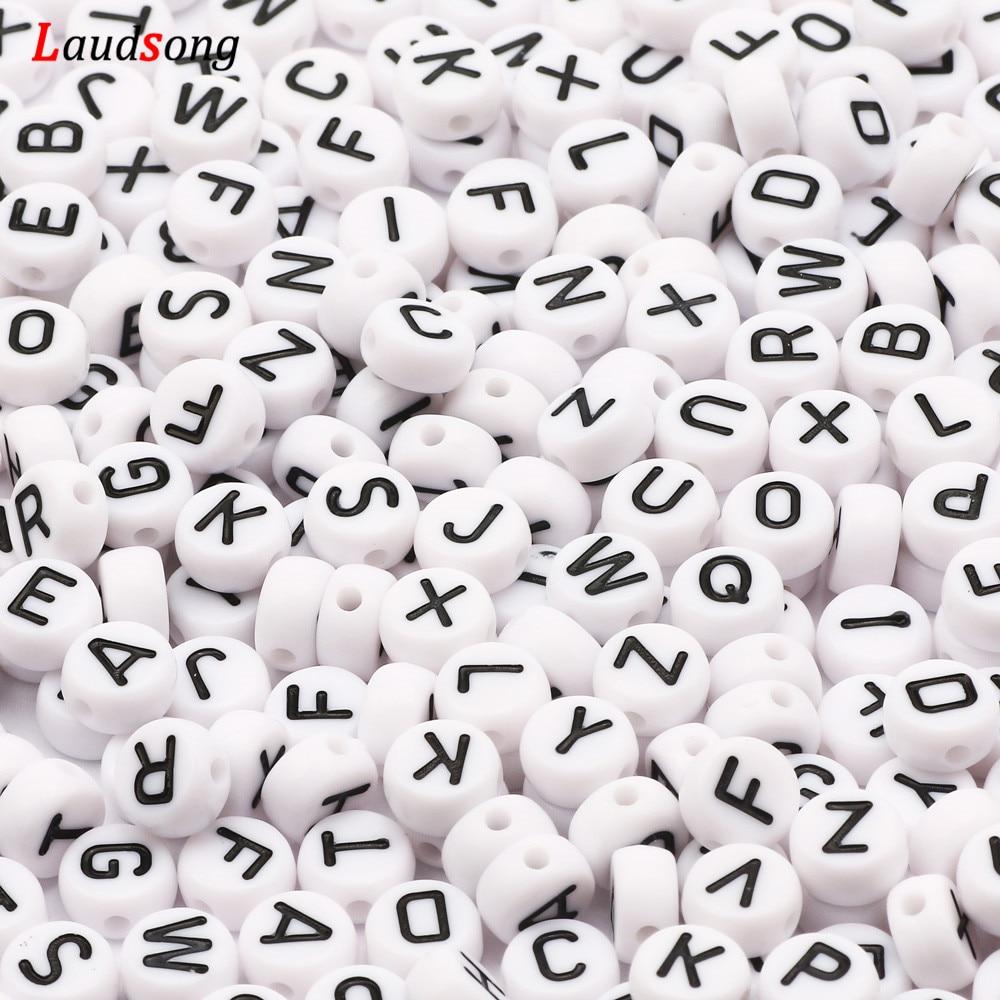7 мм черно-белые круглые акриловые бусины с надписями плоские бусины с алфавитом для изготовления ювелирных изделий ручной работы Diy брасле...