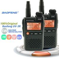 מכשיר הקשר 2pcs מקורי Baofeng UV3R מיני מכשיר הקשר 2W 3.7V UHF & VHF נייד UV3R Dual Band Hf BF 3R משדר Poste CB רדיו טווח (1)