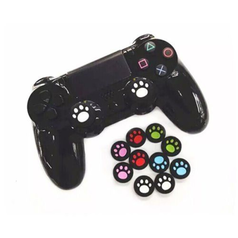 Gen Game 10 Pcs Cat Paw Rubber Silicone Analog Thumb Sticks Grips Caps For Dualshock 4 PS4 Pro Slim Controllers Accessories