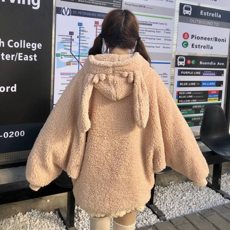Kawaii Lovely Velvet Long Sleeve Hooded Plush Coat Cartoon Anime Warm Lady Winter Sweatshirt Casual Oversized Rabbit Hoodie Girl