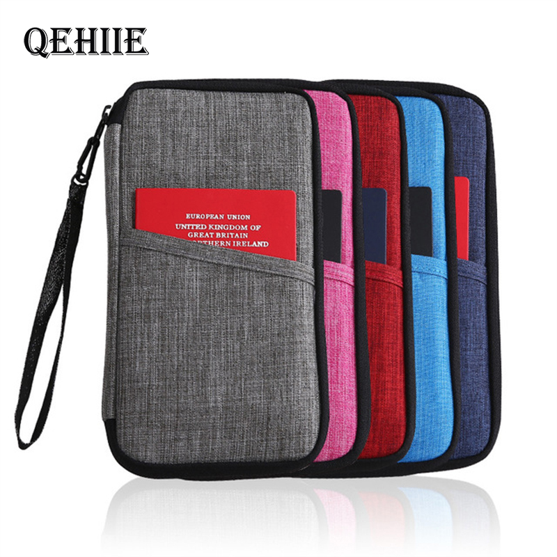 QEHIIE Men's Business Travel Wallet Woman Passport Cover Document Credit Card ID Phone Card Holder Luxury Zipper Organizer Bags