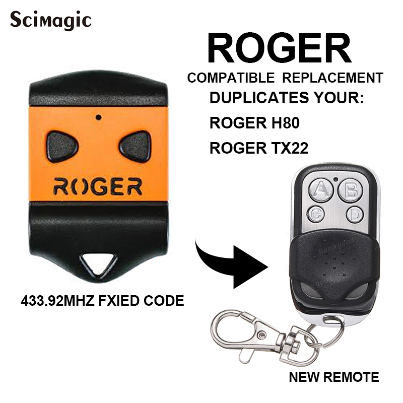 Remote Garage Gate ROGER 433.92MHz Remote Control Clone Key Duplicator For ROGER H80 TX22 E80 TX52R TX54R