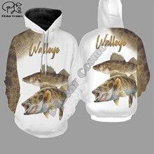 Walleye fishing 3d all over Printed Unisex hoodies Harajuku Fashion Casual Hooded Sweatshirt zip hoodies all over printed open shoulder dress