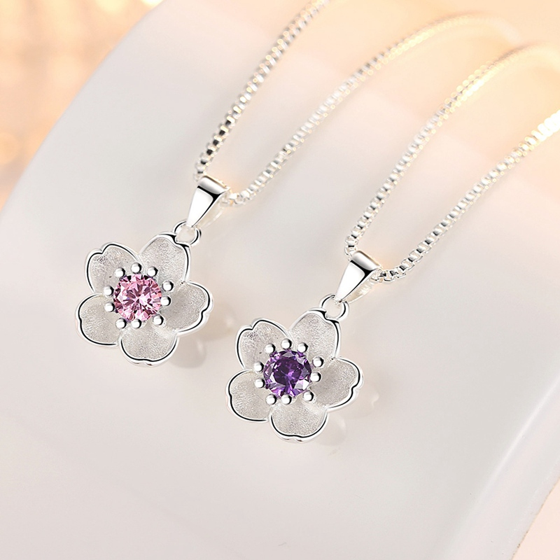 Cute Rose Flower Pendant Women Elegant Pink Purple Cubic Zircon Crystal Pendants&Necklaces Jewellery Accessories Without Chain