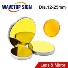 WaveTopSign soczewka skupiająca Dia.12/18mm ogniskowa 50.8mm 1 sztuk + MO lustro 20x3mm 3 sztuk dla 3020 K40 Co2 laserowa maszyna grawerująca