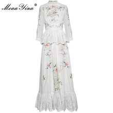 Dress Spring Flowers Embroidery Moaayina Hollow-Out Fashion-Designer Ruffles Autumn Stand