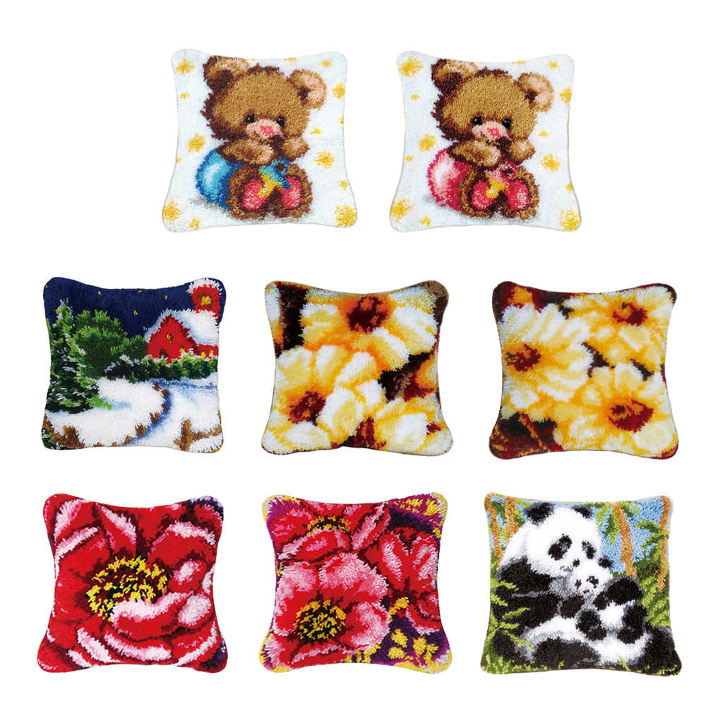 17x17 Inch Latch Hook Kits for Adults and Kids DIY Pillow Case Making Kit with Printed Canvas