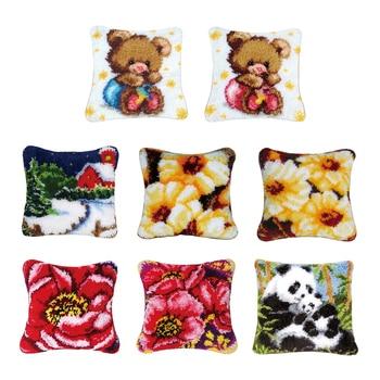 Pasador para bricolaje Kits con gancho funda de almohada tapete bonito patrón impreso 17X17 pulgadas, artesanía de costura de ganchillo para niños y adultos