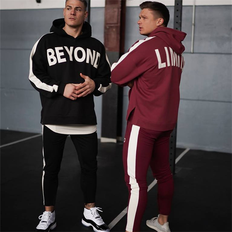 2019 NEW Gyms Printing Men Sets Sportswear Tracksuits Sets Men's Hoodies+Pants Running Suits Men's Sports Suits Plus Size M-2XL