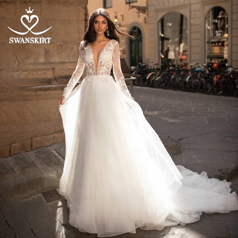 Vintage Long Sleeve Wedding Dress Swanskirt I204 Appliques Lace A-Line Princess Bridal Gown Tulle Illusion Vestido De Noiva