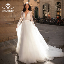 Vintage Vestido de novia de manga larga Swanskirt I204 Apliques de encaje A-Line princesa Vestido de novia tul ilusión Vestido de novia