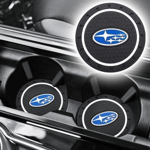 1/2 Uds emblema de placa de coche taza titular Mat Silicagel agua posavasos decoración para Subaru Impreza Forester Tribeca XV BRZ