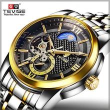 цена TEVISE Men Automatic Skeleton Tourbillon Mechanical Watches Sports Business Male Wristwatch Clock Relogio Automatico Masculino онлайн в 2017 году