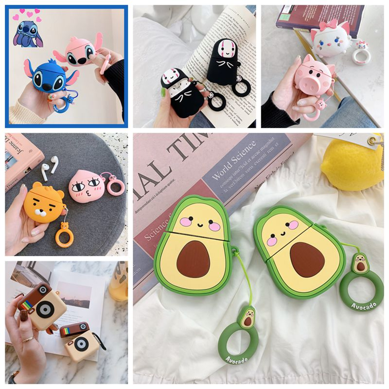 For Apple Air Pod 1 2 Case Cartoon Protective Cover Avocado Bluetooth Earphone Silicone Cases For Airpods 2 1 Milk Tea Hamburger