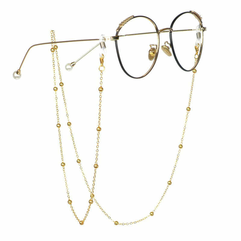 Fashion Reading Glasses Chain for Women Metal Sunglasses Lanyard Casual Gold and Silver Beading Eyeglass Rope for Glasses Women