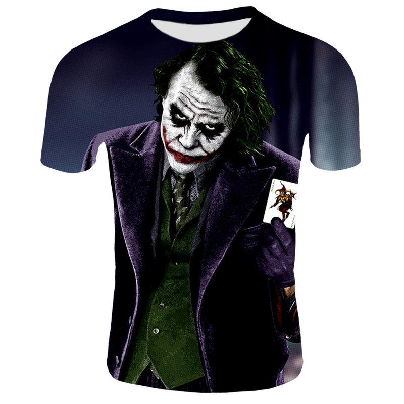 2020 Summer Joker 3d t shirt funny comics character joker with poker 3d t-shirt Casual harajuku style tees tops Male