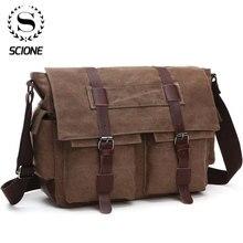 Scioneผู้ชายธุรกิจกระเป๋าMessengerกระเป๋าผู้ชายกระเป๋าสะพายผ้าใบCrossbody Pack Retroลำลองกระเป๋าเดินทาง