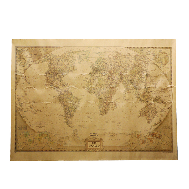 New 71x51cm Large Vintage Style World Map Retro Paper Poster Globe Old World Map Gifts