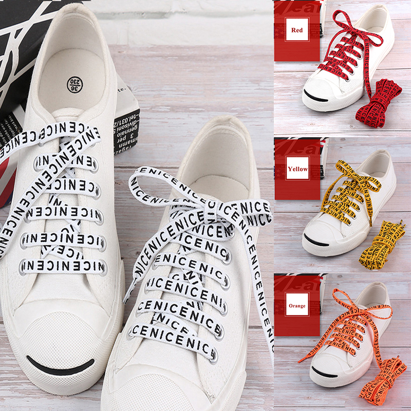 1 Pair Letter Printed Flat Shoelaces Fashion Casual Sports Outdoor Canvas Sneakers Shoelaces Women Men's Shoe Strings 100-160cm