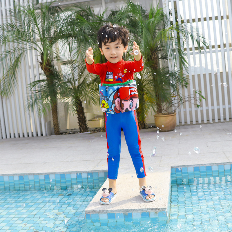 2019 New Style One-piece Buoyancy Bathing Suit Send Swimming Cap Long Sleeve Trousers Stand Collar Super Mario BOY'S KID'S Swimw