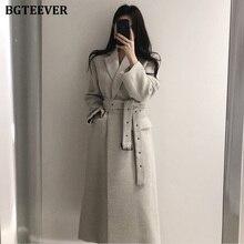 BGTEEVER Korean Solid Notched Collar Belted Woolen Overcoat Women Warm Long Winter Blend Coat Fashio