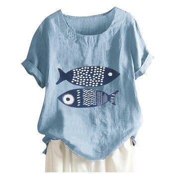цена на Casual Soft Top Blouse Women Vintage Cartoon Fish Print O-Neck Short Sleeves Top Shirt Summer 2020 Linen Blouses
