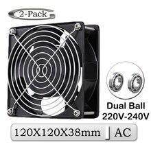 2Pcs Gdstime AC Fan 220V 240V 120mm 120mm x 38mm AC Dual Ball Industrie kühler Fan 12cm 12038B Metall Auspuff 2 Drähte Lüfter