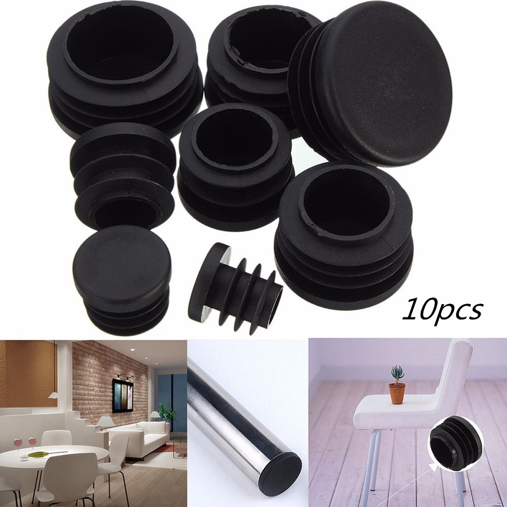 10pcs 8Sizes Black Round Plastic Cover Furniture Leg Plug Blanking End Caps Insert Plugs Round Pipe Tube Bung
