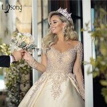 Wedding-Dresses Bridal-Gowns Crystal Royal-Train Dubai Full-Sleeves Thru Lace See Back